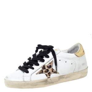 Golden Goose Deluxe Brand White Leather Gold Metallic Tab Leopard Star Superstar Size 35
