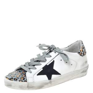 Golden Goose Deluxe Brand White Leather And Leopard Print Leather Superstar Sneakers Size 35