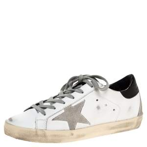 Golden Goose White Leather Superstar Low Top Sneakers Size 36