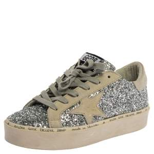 Golden Goose Silver Glitter And Suede Leather Superstar Low Top Sneakers Size 36