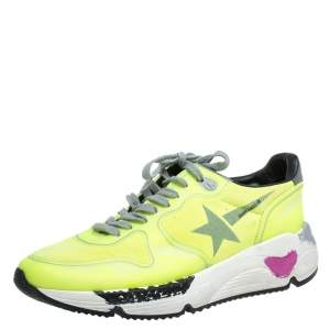Golden Goose Neon Green PVC And Suede Leather Low Top Sneakers Size 38
