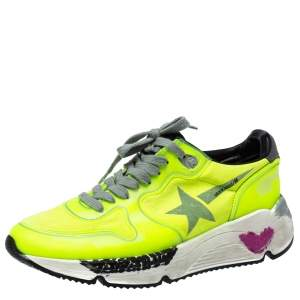 Golden Goose Neon Green PVC And Suede Low Top Sneakers Size 35