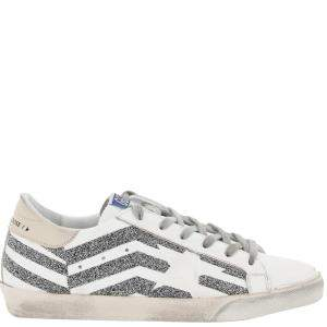Golden Goose Flag print Crystals Super-Star Sneakers Size IT 39