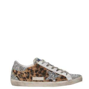 Golden Goose Leopard Print and Glitter Super star Sneakers Size EU 36
