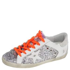 Golden Goose White Leather And Glitter Superstar Double Quarter Sneakers Size 40