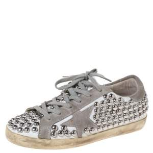 Golden Goose White/Grey Leather And Suede Superstar Low Top Sneakers Size 36