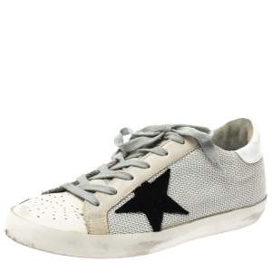 Golden Goose White Leather And Grey Knit Fabric Superstar Sneakers Size 37