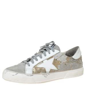 Golden Goose White/Grey Distressed Suede And Metallic Pony Hair May Lace Up Sneakers Size 38