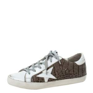 Golden Goose White/Grey Croc Embossed Leather Superstar Low Top Sneakers Size 38