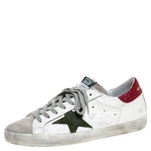 Golden Goose White Leather And Suede Superstar Lace Up Sneakers Size 41