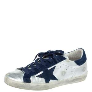 Golden Goose Deluxe Brand Silver Leather And Blue Suede Star Sneakers Size 38
