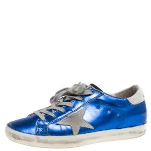 Golden Goose Metallic Blue Leather and Grey Suede Superstar Lace Up Sneakers Size 38