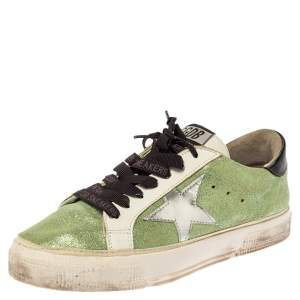 Golden Goose Green Shimmer fabric Superstar Sneakers Size 37