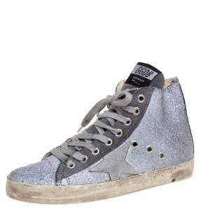 Golden Goose Silver/Grey Glitter And Suede High Top Sneakers Size 36
