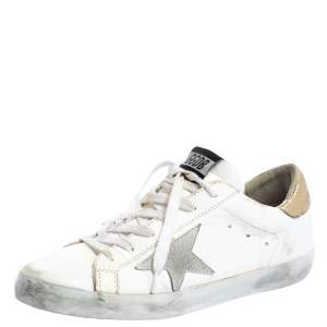 Golden Goose White/Gold Leather Superstar Low Top Sneakers Size 39