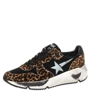 Golden Goose Black/Brown Leopard Print Calfhair and Neoprene Running Sneakers Size 40