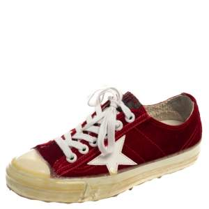 Golden Goose Red Velvet And Leather V Star 2 Low Top Sneakers Size 36