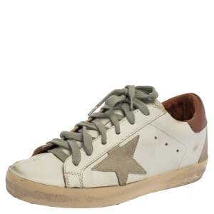 Golden Goose White Leather Superstar Low-Top Sneakers Size 35