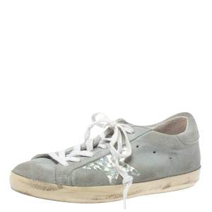 Golden Goose Grey Suede Leather Superstar Low Top  Sneakers Size 36