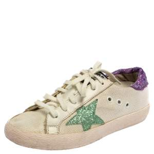 Golden Superstar White/Purple Knit Fabric And Leather Low -Top Sneaker Size 36