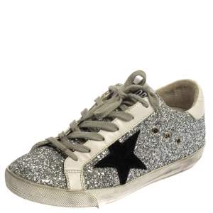 Golden Goose Silver/White Glitter And Leather Superstar Sneakers Size 37