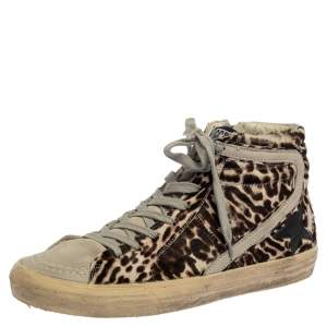 Golden Goose Grey/Brown Animal Print Calf Hair And Suede Star High Top Sneakers Size 40