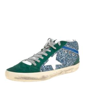 Golden Goose Tricolor Glitter and Suede Mid Star High Top Sneakers Size 39