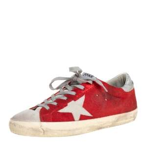 Golden Goose Red Suede Superstar Low Top Sneakers Size 39