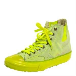 Golden Goose Neon Green V Star Dip High Top Sneakers Size 39