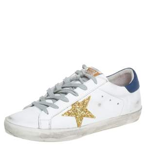 Golden Goose White Leather And Glitter Superstar Lace Up Sneakers Size 40