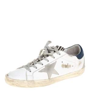Golden Goose White Leather Superstar Lace Up Sneakers Size 39