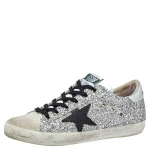 Golden Goose Silver Glitter And Suede Superstar Sneakers Size 39