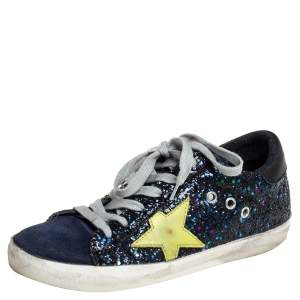 Golden Goose Navy Blue Suede And Glitter Super Star Sneakers Size 36