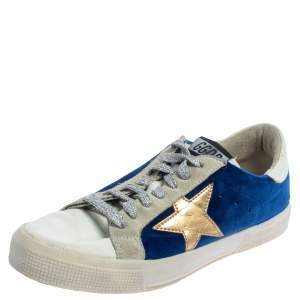 Golden Goose Blue/White Velvet And Leather May Low Top Sneakers Size 39