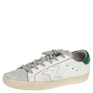 Golden Goose White Leather and Suede Cap Toe Superstar Sneakers Size 41