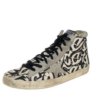 Golden Goose Beige/Black Printed Canvas Francy High Top Sneakers Size 42