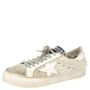 Golden Goose White/Grey Distressed Suede And Pony Hair Lace Up Sneakers Size 37