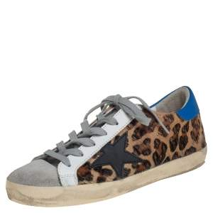 Golden Goose Multicolor Leopard Print Fur And Leather Sneakers Size 37