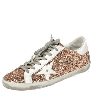 Golden Goose Rose Gold Glitter and Leather Superstar Sneakers Size 40