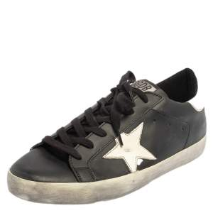 Golden Goose Black/White Leather Superstar Low Top Sneakers Size 39