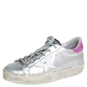 Golden Goose Silver/Pink Leather And Glitter Superstar Low Top Sneakers Size 37