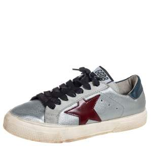 Golden Goose Silver Leather And Suede May Low Top Sneakers Size 36
