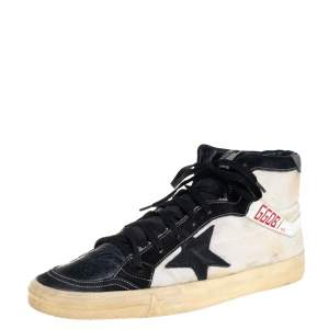 Golden Goose Black Leather And Canvas 2.12 High Top Sneakers Size 44