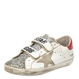 Golden Goose White/Silver Glitter And Leather Old School Sneakers Size 35
