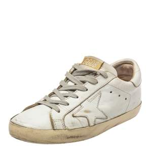 Golden Goose White Leather Superstar Sneakers Size 35