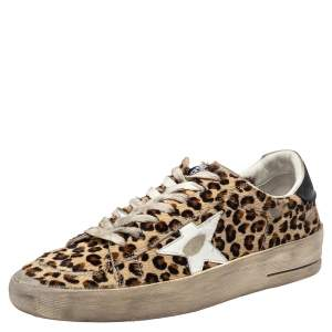 Golden Goose Beige Leopard Print Calf Hair And Leather Stardan Sneakers 40