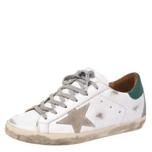 Golden Goose White/Green Leather Superstar Sneakers Size 37