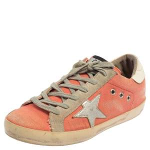 Golden Goose Pink/White Canvas And Suede Superstar Sneakers Size 39