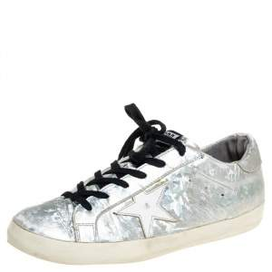 Golden Goose Grey Leather Superstar Lace Up Sneakers Size 40