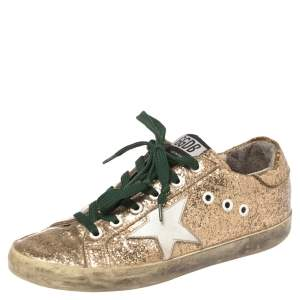 Golden Goose Gold Glitter And PVC Superstar Sneakers Size 37